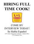 L&L Hawaiian BBQ- Fullerton Hiring Concineros!